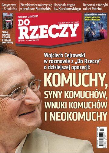 """Okładka tygodnika """"Do Rzeczy"""", wydanie nr 14/2016 (165)"""