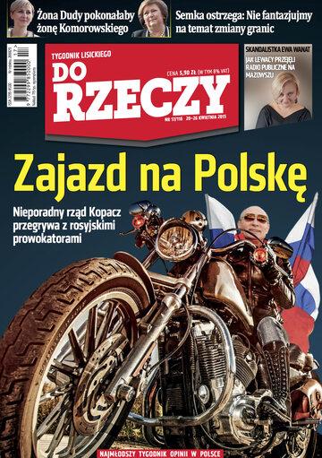 """Okładka tygodnika """"Do Rzeczy"""", wydanie nr 17/2015 (116)"""