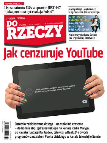 """Okładka tygodnika """"Do Rzeczy"""", wydanie nr 33/2019 (335)"""
