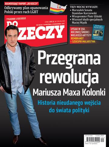 """Okładka tygodnika """"Do Rzeczy"""", wydanie nr 40/2019 (342)"""