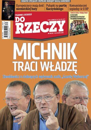 """Okładka tygodnika """"Do Rzeczy"""", wydanie nr 30/2015 (129)"""