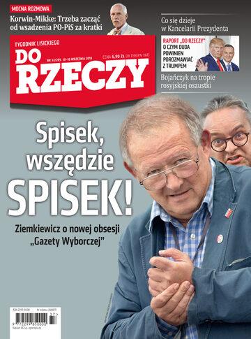 """Okładka tygodnika """"Do Rzeczy"""", wydanie nr 37/2018 (289)"""