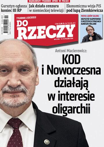 """Okładka tygodnika """"Do Rzeczy"""", wydanie nr 2/2016 (153)"""