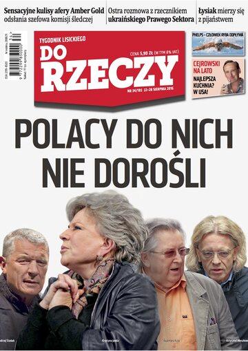 """Okładka tygodnika """"Do Rzeczy"""", wydanie nr 34/2016 (185)"""