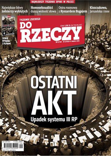 """Okładka tygodnika """"Do Rzeczy"""", wydanie nr 9/2016 (160)"""