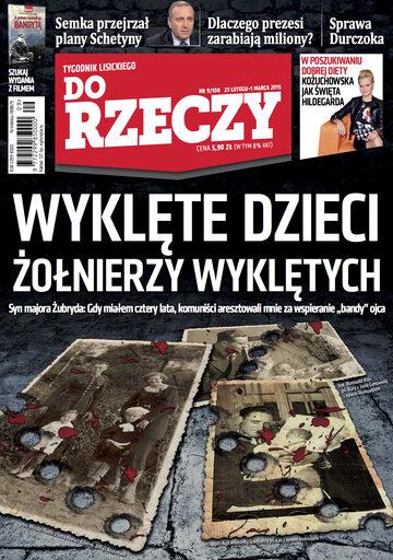 """Okładka tygodnika """"Do Rzeczy"""", wydanie nr 9/2015 (108)"""