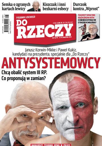 """Okładka tygodnika """"Do Rzeczy"""", wydanie nr 16/2015 (115)"""