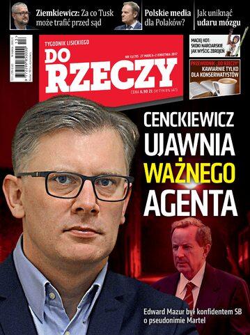 """Okładka tygodnika """"Do Rzeczy"""", wydanie nr 13/2017 (215)"""