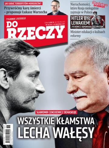 """Okładka tygodnika """"Do Rzeczy"""", wydanie nr 36/2017 (238)"""