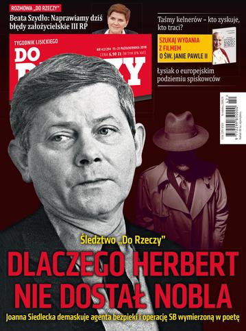 """Okładka tygodnika """"Do Rzeczy"""", wydanie nr 42/2018 (294)"""