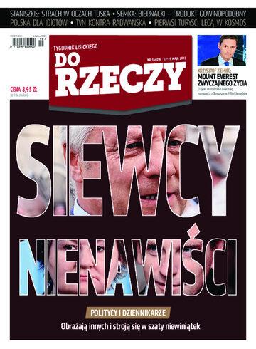 """Okładka tygodnika """"Do Rzeczy"""", wydanie nr 16/2013 (16)"""