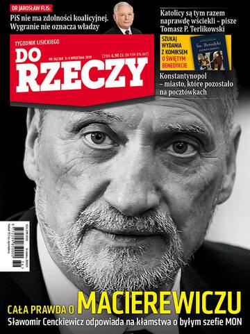 """Okładka tygodnika """"Do Rzeczy"""", wydanie nr 36/2018 (288)"""