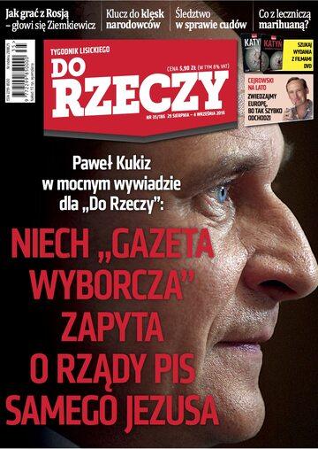 """Okładka tygodnika """"Do Rzeczy"""", wydanie nr 35/2016 (186)"""