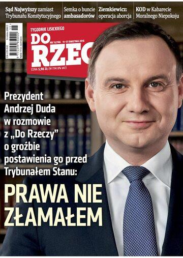 """Okładka tygodnika """"Do Rzeczy"""", wydanie nr 15/2016 (166)"""