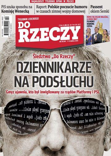 """Okładka tygodnika """"Do Rzeczy"""", wydanie nr 10/2016 (161)"""