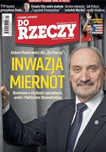 """Okładka tygodnika """"Do Rzeczy"""", wydanie nr 41/2015 (140)"""