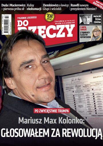 """Okładka tygodnika """"Do Rzeczy"""", wydanie nr 47/2016 (198)"""