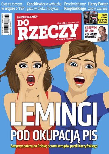 """Okładka tygodnika """"Do Rzeczy"""", wydanie nr 33/2016 (184)"""