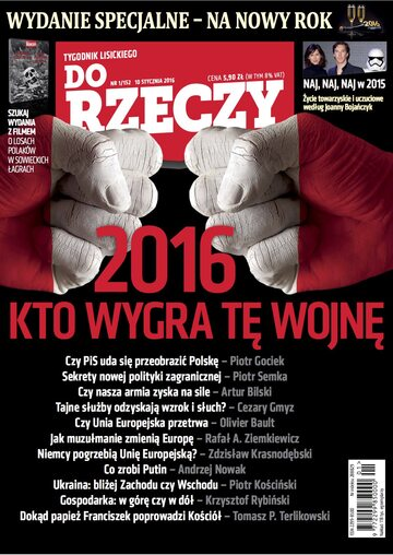 """Okładka tygodnika """"Do Rzeczy"""", wydanie nr 1/2016 (152)"""