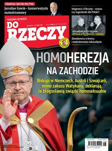 """Okładka tygodnika """"Do Rzeczy"""", wydanie nr 18/2021 (423)"""
