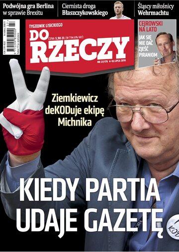 """Okładka tygodnika """"Do Rzeczy"""", wydanie nr 27/2016 (178)"""