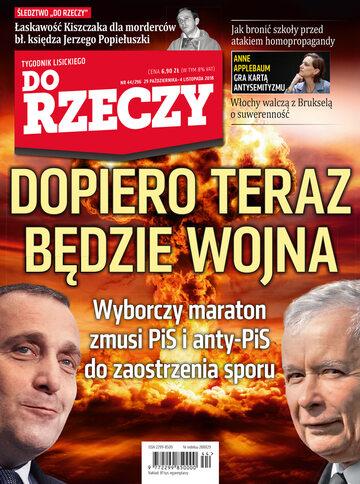 """Okładka tygodnika """"Do Rzeczy"""", wydanie nr 44/2018 (296)"""