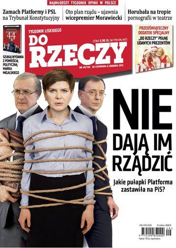 """Okładka tygodnika """"Do Rzeczy"""", wydanie nr 49/2015 (148)"""