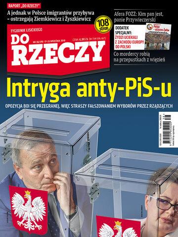 """Okładka tygodnika """"Do Rzeczy"""", wydanie nr 38/2018 (290)"""