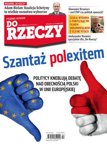 """Okładka tygodnika """"Do Rzeczy"""", wydanie nr 13/2019 (316)"""