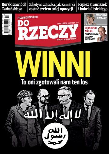 """Okładka tygodnika """"Do Rzeczy"""", wydanie nr 32/2016 (183)"""