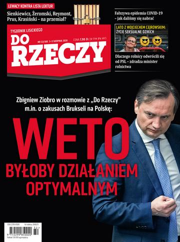 """Okładka tygodnika """"Do Rzeczy"""", wydanie nr 32/2020 (385)"""