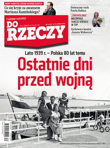 """Okładka tygodnika """"Do Rzeczy"""", wydanie nr 34/2019 (336)"""