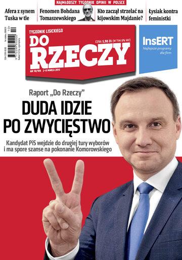 """Okładka tygodnika """"Do Rzeczy"""", wydanie nr 10/2015 (109)"""