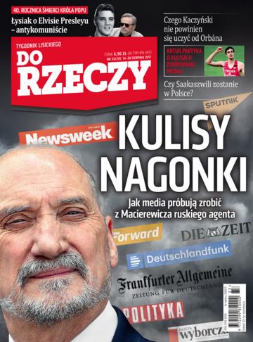 """Okładka tygodnika """"Do Rzeczy"""", wydanie nr 33/2017 (235)"""