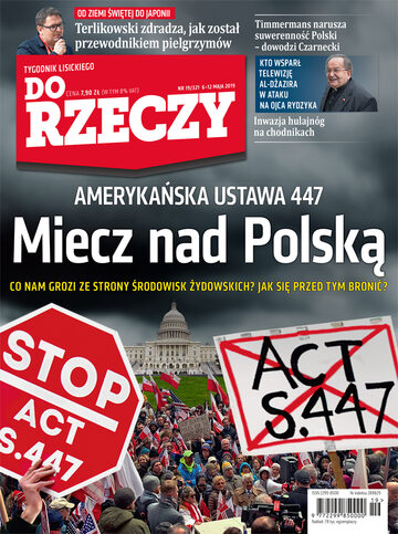 """Okładka tygodnika """"Do Rzeczy"""", wydanie nr 19/2019 (321)"""
