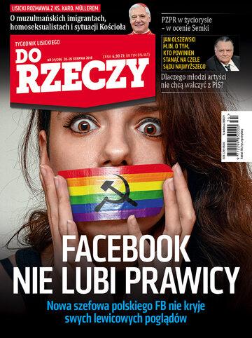 """Okładka tygodnika """"Do Rzeczy"""", wydanie nr 34/2018 (286)"""