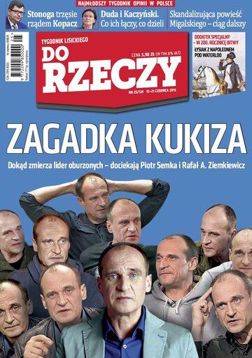 """Okładka tygodnika """"Do Rzeczy"""", wydanie nr 25/2015 (124)"""