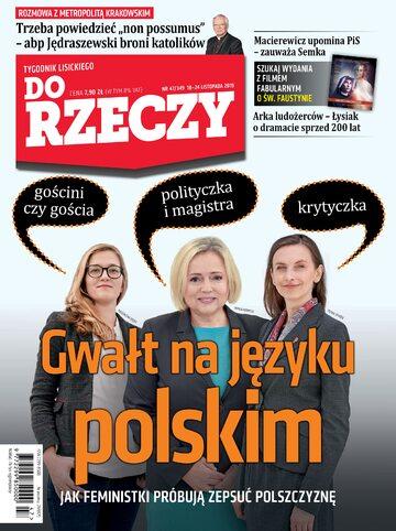 """Okładka tygodnika """"Do Rzeczy"""", wydanie nr 47/2019 (349)"""