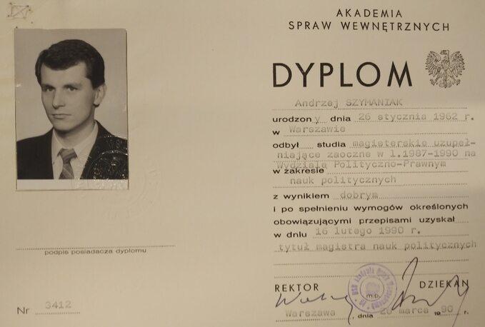 Dyplom Andrzeja Szymaniaka