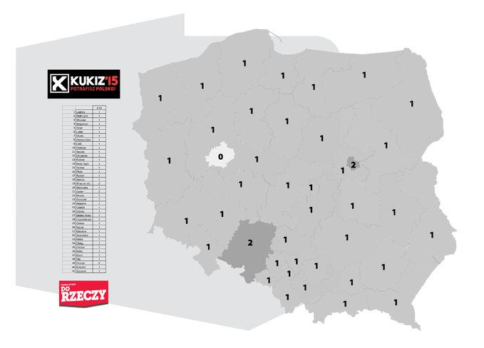 Ilość mandatów, które uzyskałby Kukiz'15 wokręgach wyborczych