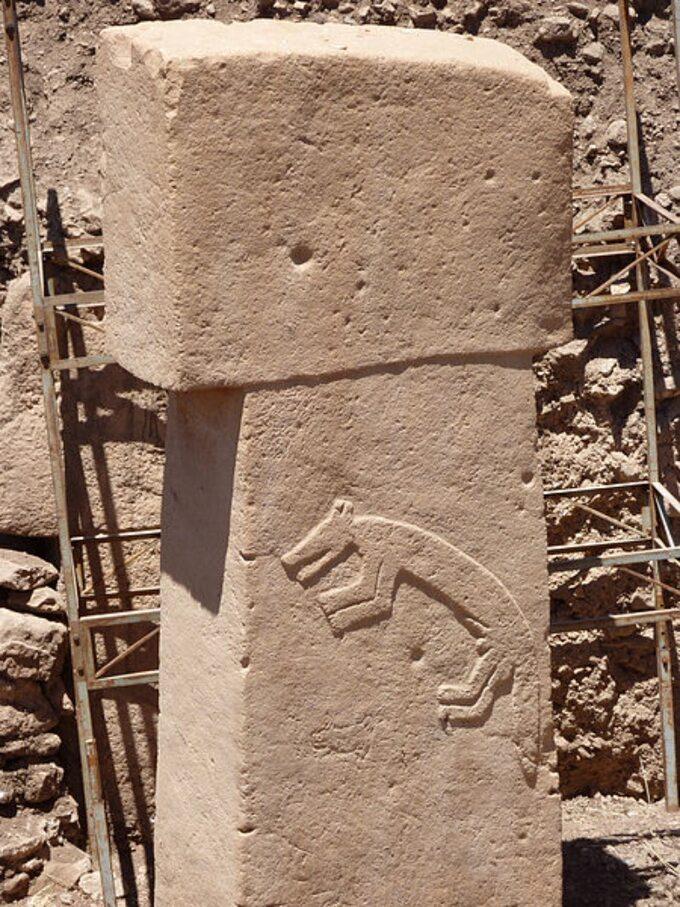 Göbekli Tepe. Rzeźba zwierzęcia najednym zesłupów