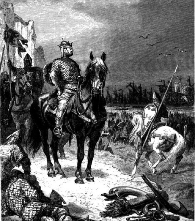Lądowanie Wilhelma Zdobywcy wAnglii. Grafika Alphonsa de Neuville'a z1883r.