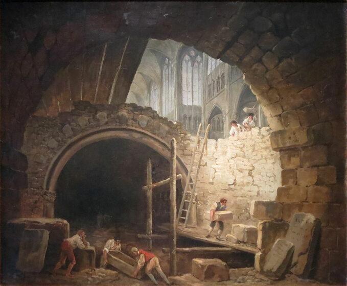 Beszczeszczenie grobów wbazylice Saint-Denis. Obraz Huberta Roberta
