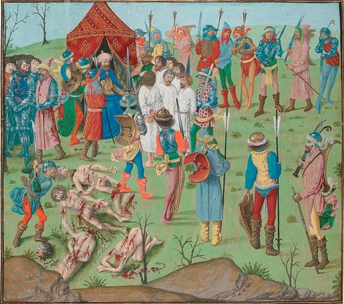 Egzekucja więźniów pobitwie podNikopolis, wodwecie zazabicie jeńców osmańskich przez krzyżowców