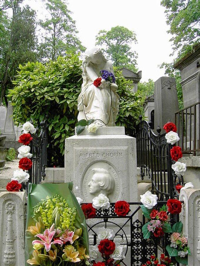 Grób Chopina naparyskim cmentarzu Père-Lachaise