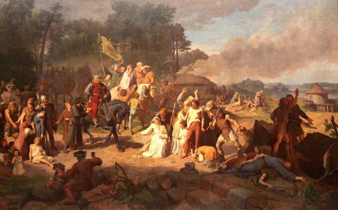 """Wojciech Gerson, """"Opłakane apostolstwo"""", 1866 rok, olej/płótno; wymiary: 290 x 460 cm, Muzeum Narodowe wKrakowie."""