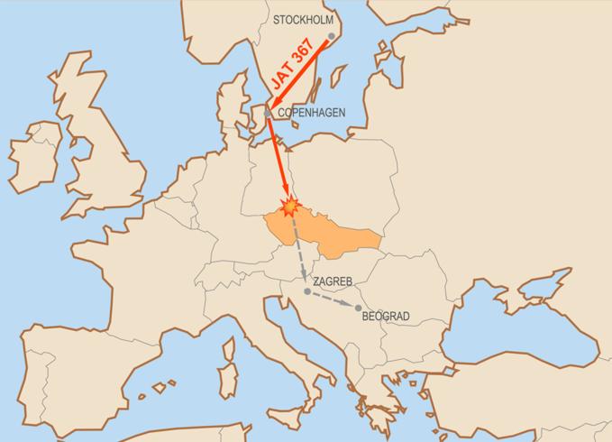 Mapa przedstawiająca trasę lotu JAT 367