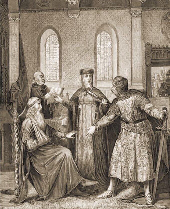 Święta Jadwiga godzi swojego męża Henryka Brodatego zKonradem Mazowieckim.