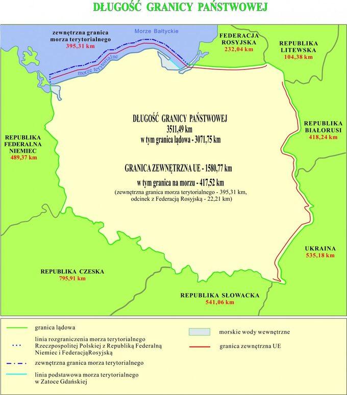 Mapa Polski – długość granicy państwowej