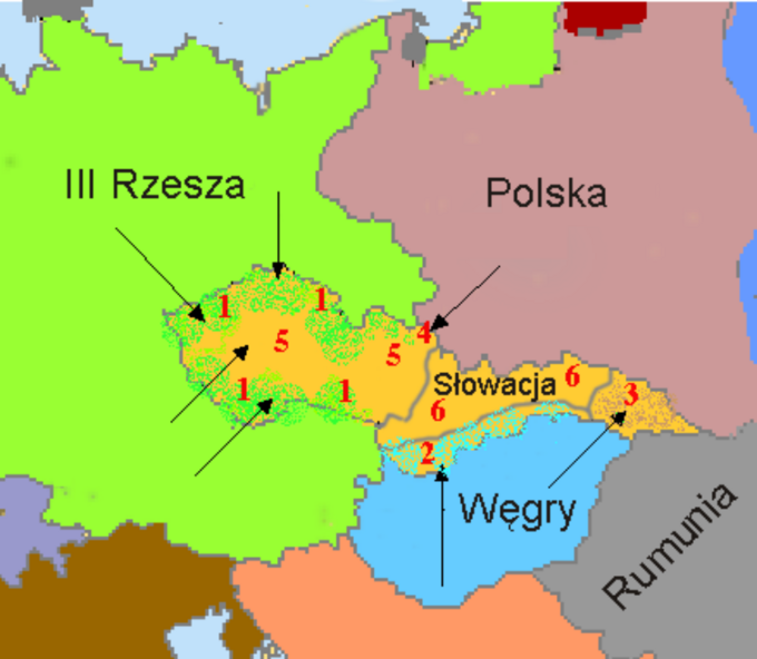 Podział Czechosłowacji. 1-Niemcy,  2-Węgry, 3-Ukraina Karpacka (później doWęgier), 4-Polska, 5-późniejszy Protektorat Czech iMoraw, 6-późniejsza Słowacja